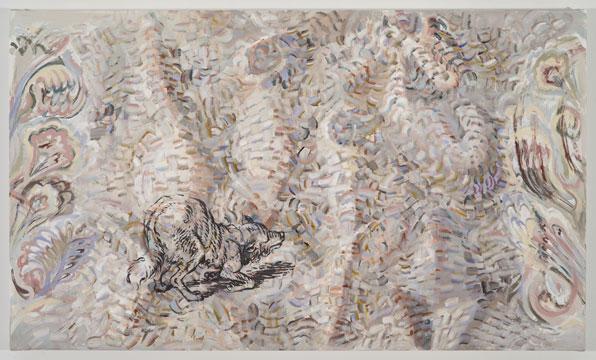 """Marginalia, 2011 Acrylique sur toile 33"""" x 56"""", Carol Wainio, Vue d'installation 2011, Photo: Guy L'Heureux"""