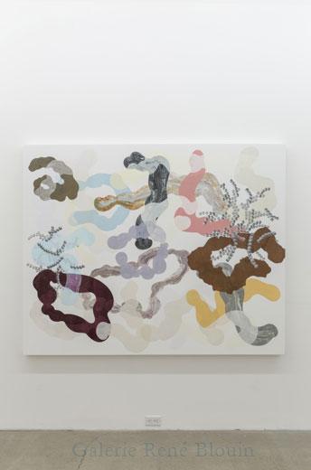 Nécromasse, 2013, huile sur toile, 152,5 x 189,5 cm / 60 x 74.6 pouces, Vue de l'exposition: François Lacasse22 mars au 3 mai 2014, Photo: Guy L'Heureux