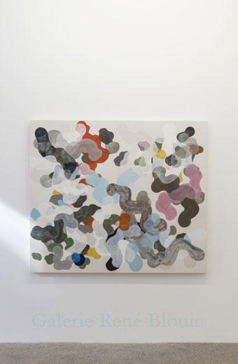 Nouvelle intrication III, 2013, huile sur toile, 137,2 x 160 cm / 54 x 63 pouces, Vue de l'exposition: François Lacasse22 mars au 3 mai 2014, Photo: Guy L'Heureux