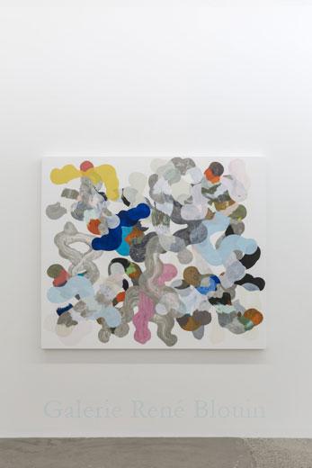 Nouvelle intrication IV, 2013, huile sur toile, 137,2 x 160 cm / 54 x 63 pouces, Vue de l'exposition: François Lacasse22 mars au 3 mai 2014, Photo: Guy L'Heureux
