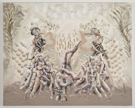 """Plumage, 2011 Acrylique sur toile 121,9 x 152,4 cm / 48"""" x 60"""", Carol Wainio, Vue d'installation 2011, Photo: Guy L'Heureux"""