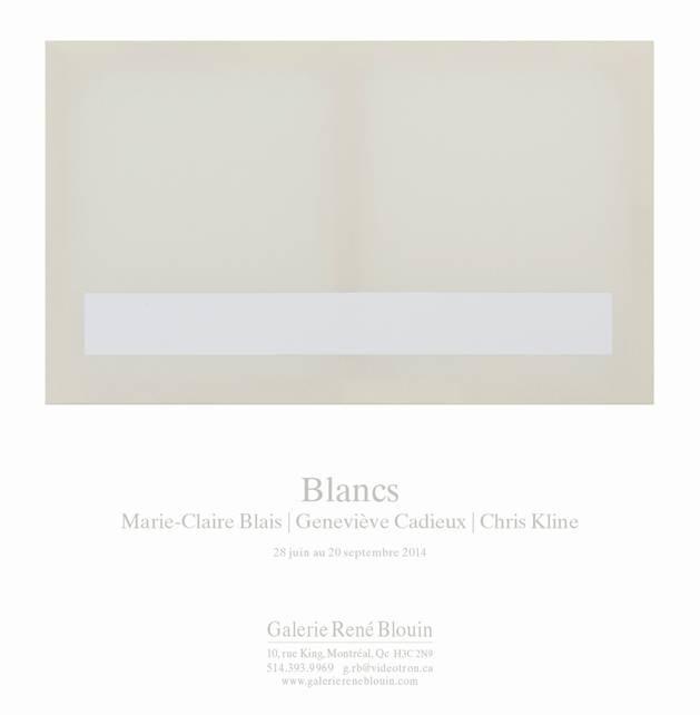invitation : Vue de l'exposition, Blancs Marie-Claire Blais   Geneviève Cadieux   Chris Kline 28 juin au 20 septembre 2014, Crédit photo : Guy L'Heureux