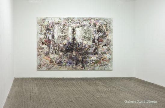 """Camouflage (colouring), 2007-2011 Acrylique sur toile 198,1 x 304,8 cm / 78"""" x 120"""", Carol Wainio, Vue de l'exposition (2011) Photo: Guy L'Heureux"""