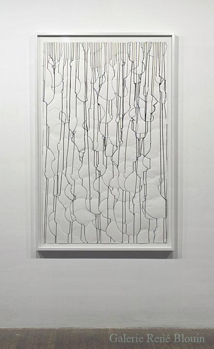 Patrick Coutu Duo - Ruissellements II, 2008 encre sur papier 150 x 91,5 cm, Jardins, 1er volet, Vue de l'exposition (2009) Photo: Richard-Max Tremblay