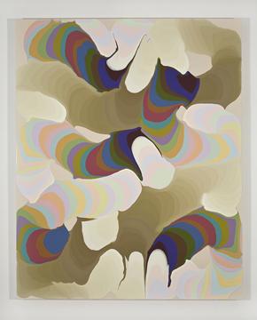 Pulsions mixtes VI, 2008 acrylique et encre sur toile 152,5 x 122 cm / 60 x 48 pouces, François Lacasse, Vue de l'exposition (2009)  Photo: Richard-Max Tremblay
