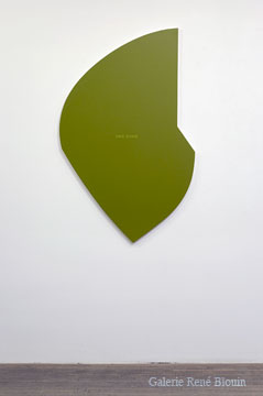 Francine Savard Une zone verte, 2002 acrylique sur toile marouflée sur caisson de bois 137,2 x 83,8 cm / 54 x 33 pouces, Jardins, 2iem volet, Vue de l'exposition (2009) Photo: Richard-Max Tremblay