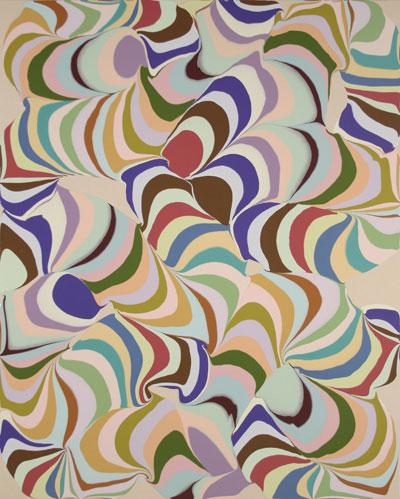 Francine Savard Pulsions striées VI, 2008 acrylique et encre sur toile 152,4 x 121,9 cm / 60 x 48 pouces, Jardins, 2iem volet, Vue de l'exposition (2009) Photo: Richard-Max Tremblay