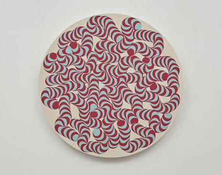 Méduse III, 2009 peinture vinylique et acrylique sur toile diamètre : 101 cm / 39.8 pouces, François Lacasse, Vue de l'exposition (2009)  Photo: Richard-Max Tremblay