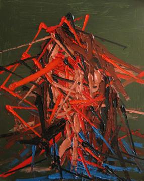 Kim Dorland Portrait, 2009 huile sur panneau de bois 152,4 x 121,9 cm / 60 x 48 pouces, Peinture Extrême Painting, Vue de l'exposition (2010) Photo: Richard-Max Tremblay