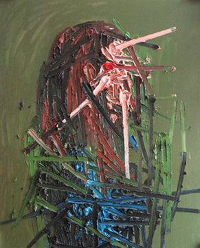 Kim Dorland, Untitled Portrait, 2009 huile sur panneau de bois 152,4 x 121,9 cm / 60 x 48 pouces, Peinture Extrême Painting, Vue de l'exposition (2010) Photo: Richard-Max Tremblay