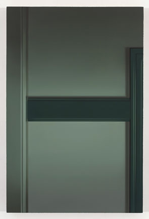 Pierre Dorion La chambre verte II, 2009 huile sur toile de lin 83,8 x 55,9 cm / 33 x 22 pouces, Jardins, 2iem volet, Vue de l'exposition (2009) Photo: Richard-Max Tremblay