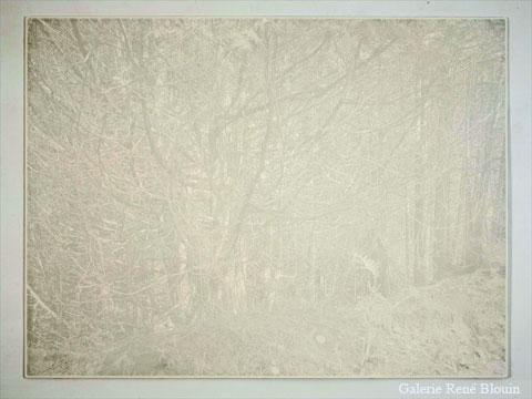 Nicolas Baier Blanc, 2005 céramique cuite montée sur acier 109,8 x 146,7 cm / 43,25 x 57,75 pouces, Jardins, 1er volet, Vue de l'exposition (2009) Photo: Richard-Max Tremblay