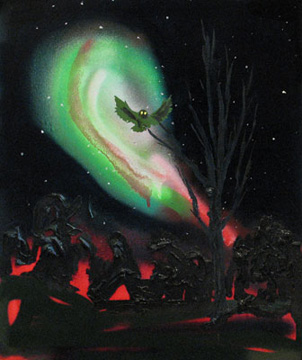 Kim Dorland Owl, 2009 huile sur panneau de bois 50,8 x 40,6 cm / 20 x 16 pouces, Peinture Extrême Painting, Vue de l'exposition (2010) Photo: Richard-Max Tremblay