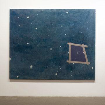 Anthony Burnham Overlap and Rewind, 2004 huile sur toile 200 x 243 cm / 78,7 x 95,7 pouces, Jardins, 2iem volet, Vue de l'exposition (2009) Photo: Richard-Max Tremblay