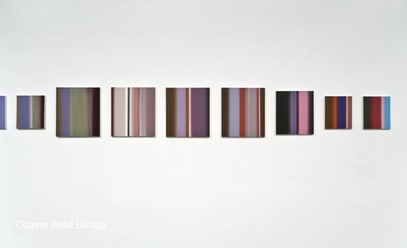 Abstractions (Série B), 2005-2007 détail huile sur toile 22 éléments de dimensions diverses l'ensemble : 46 x 876 cm, Pierre Dorion: Abstractions, Vue de l'exposition (2010) Photo: Richard-Max Tremblay
