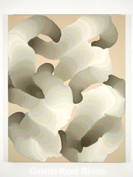 Pulsions nouées IX, 2007 acrylique et encre sur toile 127 x 101,5 cm / 50 x 40 pouces, François Lacasse, Vue de l'exposition (2008)  Photo: Richard-Max Tremblay