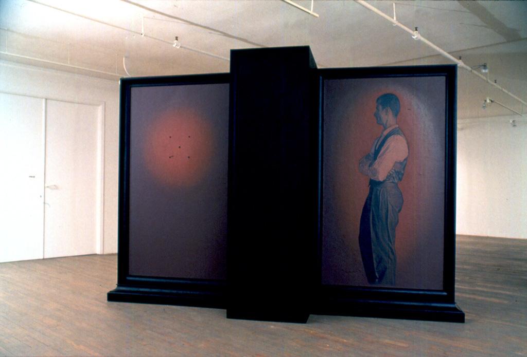 Pierre Dorion, Transept, huile sur toile, bois laqué, 236 x 338 x 99 cm, 1992