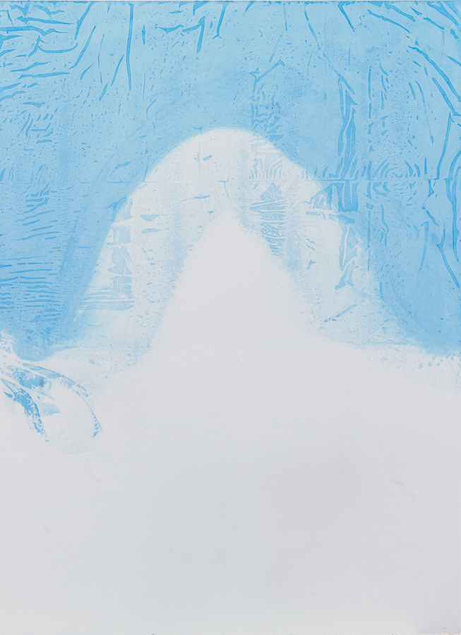 Pascal Grandmaison, La limite de l'écho 01, 2013, plâtre hydrostone, pigments aqueux, 69 x 50 x 2 pouces