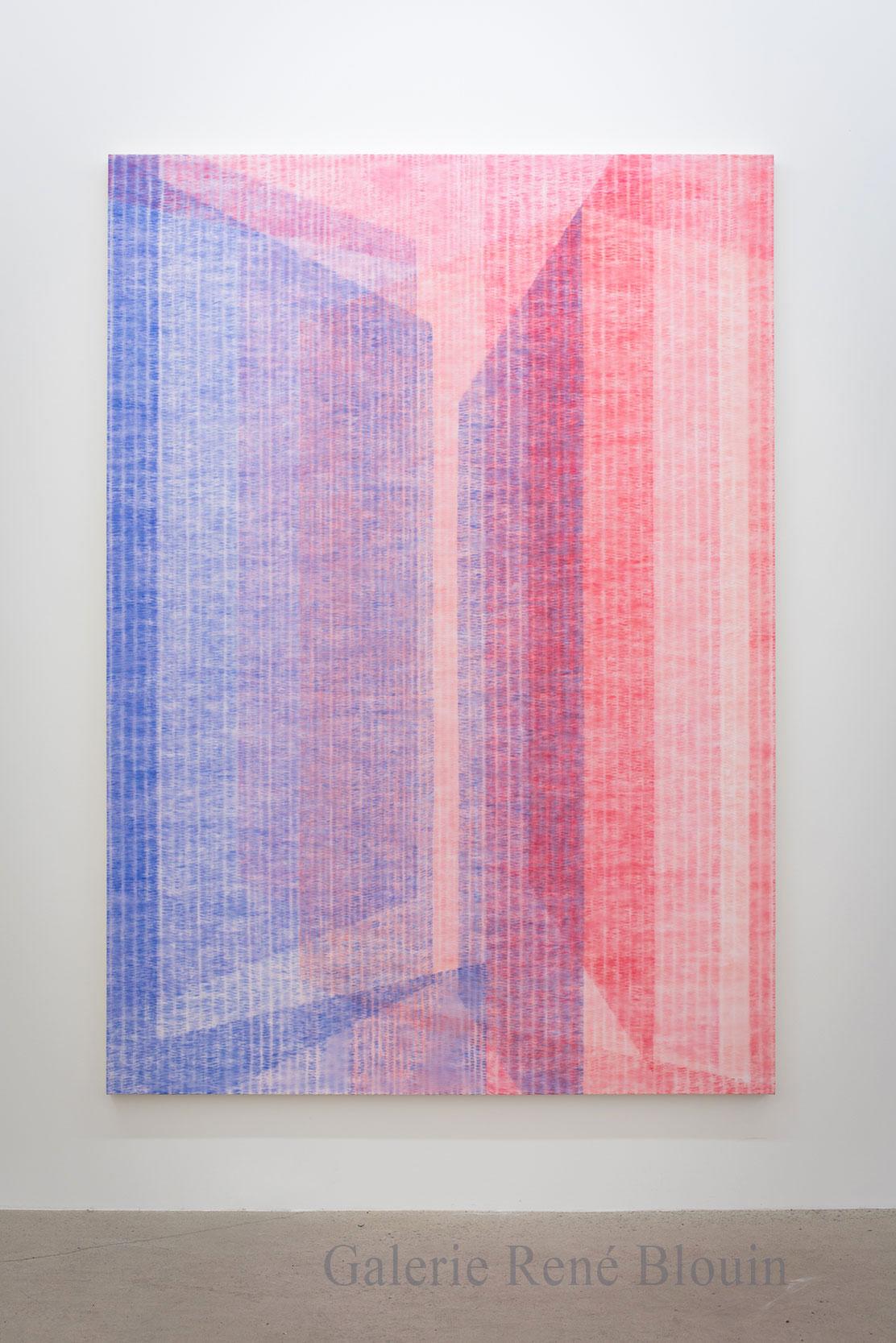Marie-Claire Blais, Être la porte qui s'ouvre 9, 2016, acrylique sur toile, 216 x 152 cm /85 x 60 pouces. Photo : Marie-Claire Blais
