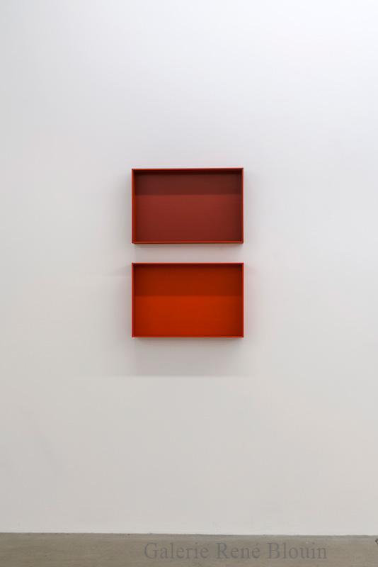 Francine Savard, Truismes 5, 2017, 2 éléments, acrylique sur MDF, 34 x 23 x 4,75 pouces - Galerie René Blouin exposition : 25 mars au 6 mai 2017