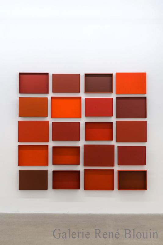 Francine Savard, Truismes 3, 2016, 20 éléments, acrylique sur MDF, 77 x 84,5 x 3,75 pouces - Galerie René Blouin exposition : 25 mars au 6 mai 2017
