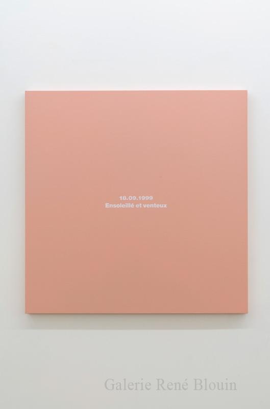 Francine Savard, Le Devoir, Montréal, samedi 18 septembre 1999, 2015, acrylique sur toile marouflée sur contreplaqué, 36 x 36 pouces - Galerie René Blouin exposition : 25 mars au 6 mai 2017