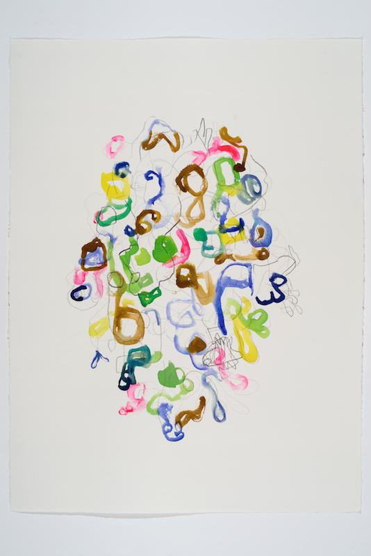 Serge Murphy, Feuillages 23, 2016, Graphite, encre et pastel sur papier, 30 x 22 pouces