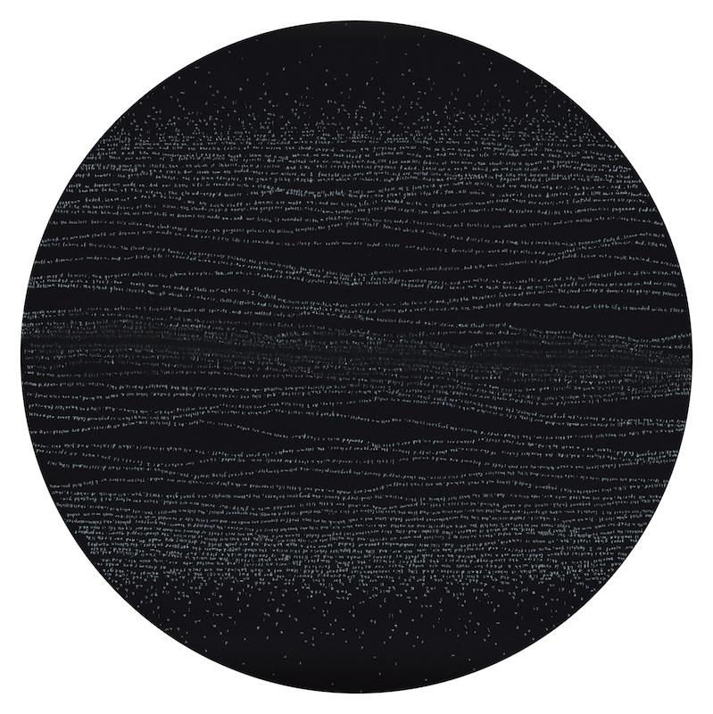 Simon Bertrand, 32 The Tempest (Acte 4, scène 1), 2015, crayon de bois blanc sur papier, 16.5 pouces de diamètre