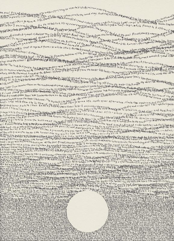 Simon Bertrand, 33 Words, 2016, Crayon à l'encre sur papier, 8 x 6 pouces