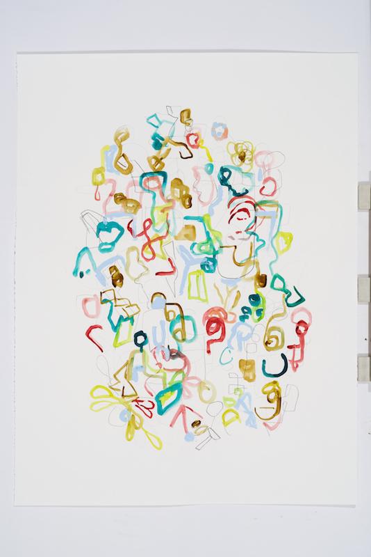 Serge Murphy, Feuillages 6, 2016, Graphite, encre et pastel sur papier, 50 x 38 pouces