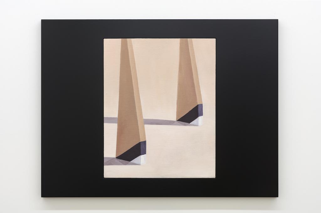 Anthony Burnham, Template of an attitude, 2017, Huile sur toile de lin et bois, 85 x 65 cm / 33,5 x 25,5 pouces