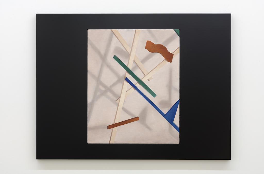 Anthony Burnham, Template of a soft floating sculpture, 2017, Huile sur toile de lin et bois, 85 x 65 cm / 33,5 x 25,5 pouces
