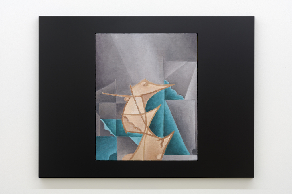 Anthony Burnham, Figure seized in a template, 2017, Huile sur toile de lin et bois, 85 x 65 cm / 33,5 x 25,5 pouces
