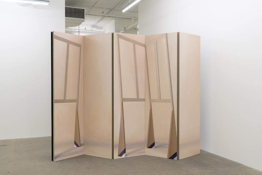 Anthony Burnham, En deux temps, trois mouvements, 2017, Huile sur toile de lin et bois, 230 x 277 x 58,5 cm / 90,5 x 109 x 23 pouces