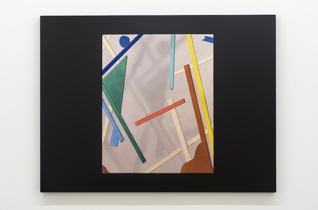 Anthony Burnham, Through the template, 2017, Huile sur toile de lin et bois, 85 x 65 cm / 33,5 x 25,5 pouces