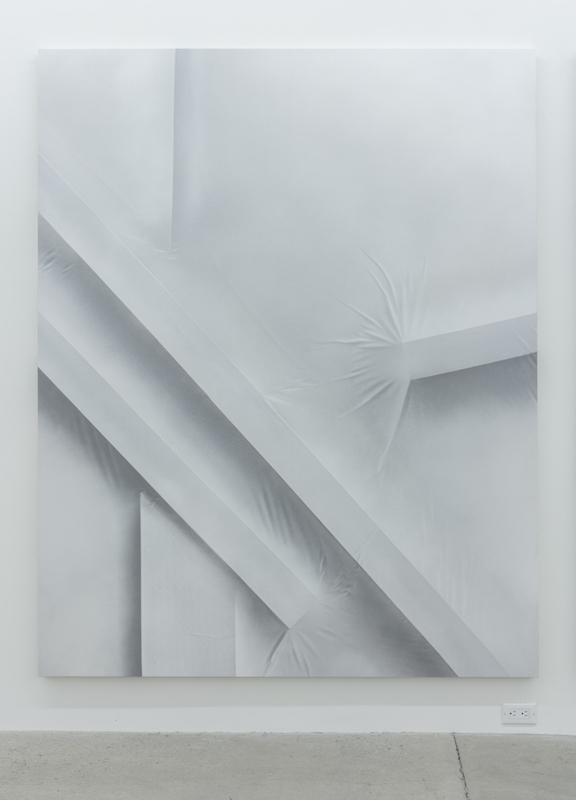 Anthony Burnham, Position 028, Close up center left, 2015 acrylique sur toile, 210 x 166 cm / 82.6 x 65.3 pouces Vue de l'exposition (2015) Photo: Richard-Max Tremblay