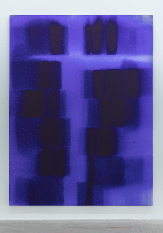 Nicolas Lachance, The Flaw, 2015 encre à papier carbone sur toile, 244 x 183 cm (96 x 72 pouces) Vue de l'exposition (2015) Photo: Richard-Max Tremblay