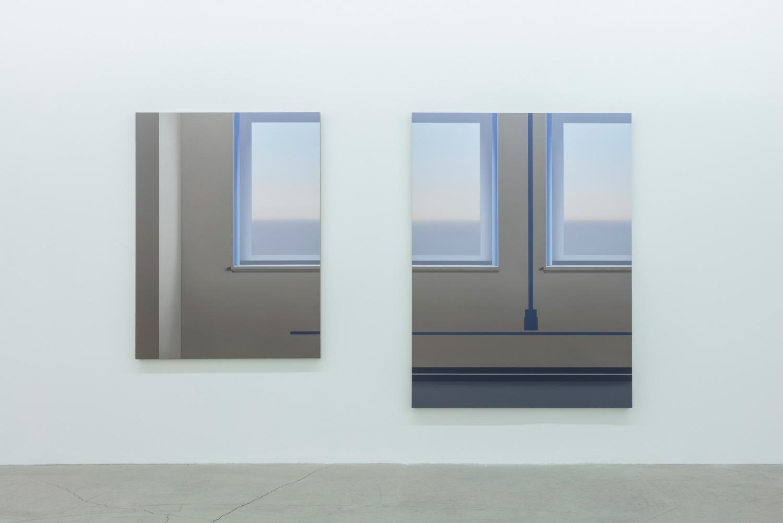 Windows and traces, 2016, huile sur toile de lin,72 x 121,5 pouces