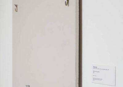 Mathieu Grenier, Au-delà des signes (Ozias Leduc, Nature morte, oignons rouge, 1892), 2015, prélèvement de mur et cartel d'exposition
