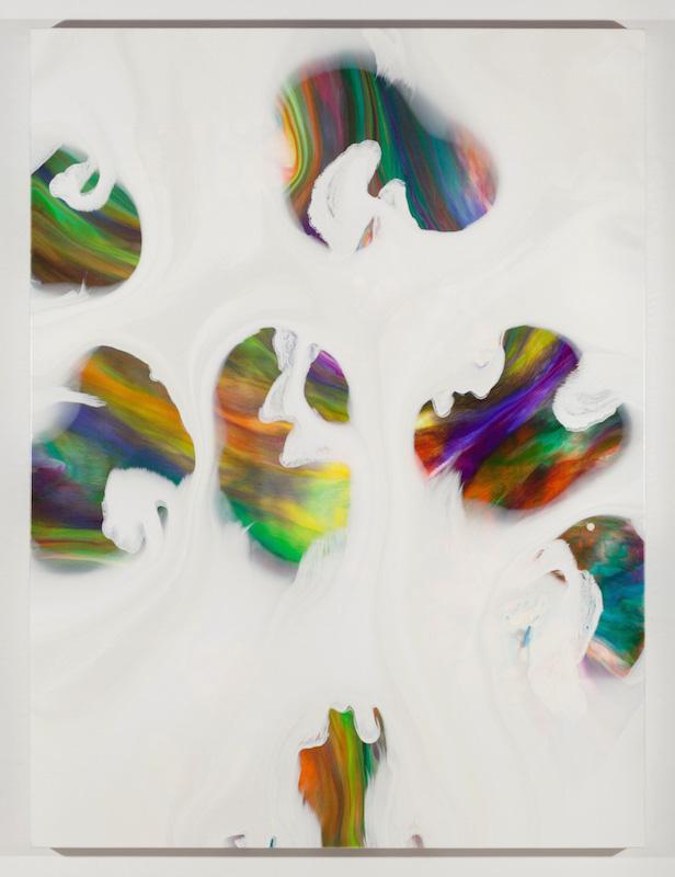 Trouées III, 2017, Encre et acrylique sur toile, 162,6 x 121,9 cm / 64 x 48 pouces