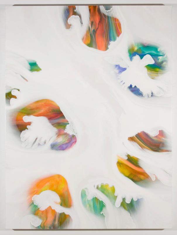 Trouées I, 2017, Encre et acrylique sur toile, 162,6 x 121,9 cm / 64 x 48 pouces
