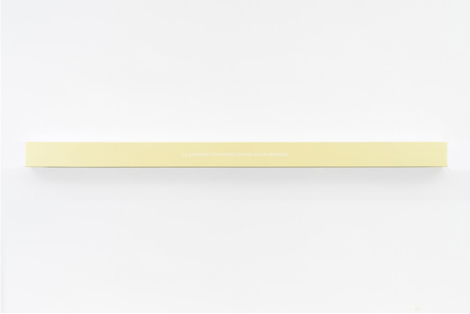 Francine Savard, Lumière de la matinée, 2018, Médiums mixtes sur toile marouflée sur caisson de bois, 10,16 × 177,8 × 10,16 cm / 4 x 70 x 4 pouces
