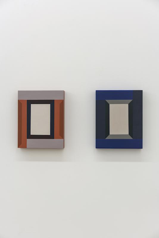 Serena Beaulieu, Edges (orange) / Edges (blue), 2018, Acrylique sur bois, 20,5 x 20 cm / 10 x 8 pouces (chacune)