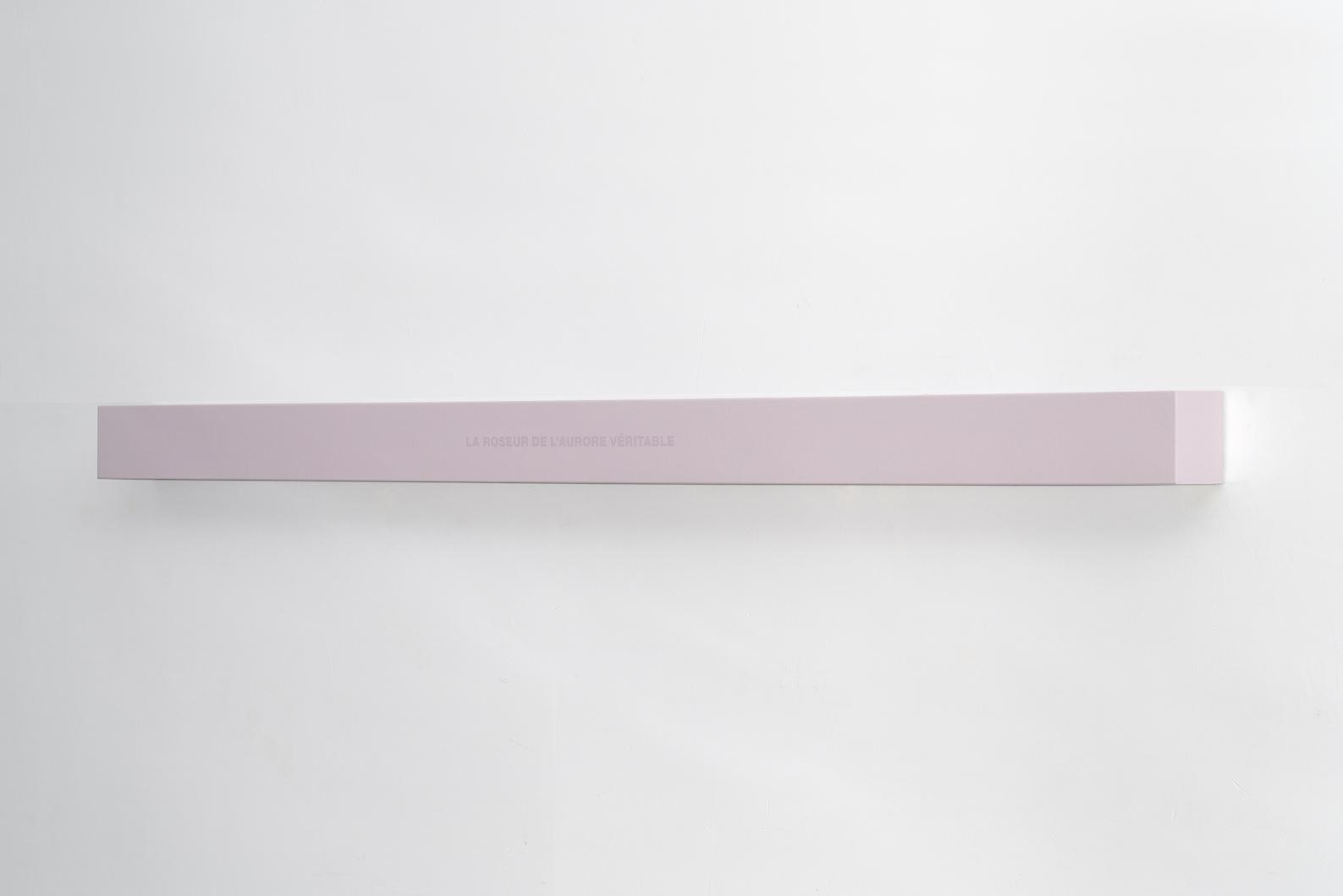 Francine Savard, Lumière de l'aurore, 2018, Médiums mixtes sur toile marouflée sur caisson de bois, 10,16 × 177,8 × 10,16 cm / 4 x 70 x 4 pouces