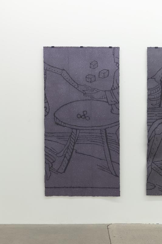 Nicolas Lachance, Le joueur, 2018, pulpe de papier, pigment, support en bois et pince de métal, 183 x 91 cm / 72 x 35,8 pouces.