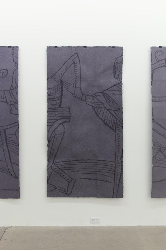 Nicolas Lachance, Le gentilhomme, 2018, pulpe de papier, pigment, support en bois et pince de métal, 183 x 91 cm / 72 x 35,8 pouces.