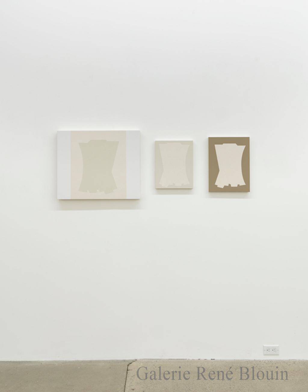 Daniel Langevin, Lot (508609_BD_WH), 2017, Acrylique sur toile, 50,8 x 60,9 cm / 20 x 24 pouces // Lot (508406_BE_BR), 2017, Acrylique sur toile, 35,5 x 27,9 cm / 14 x 11 pouces // Lot (406304_DK_BR), 2017, Acrylique sur toile, 40,6 x 30,4 cm / 16 x 12 pouces