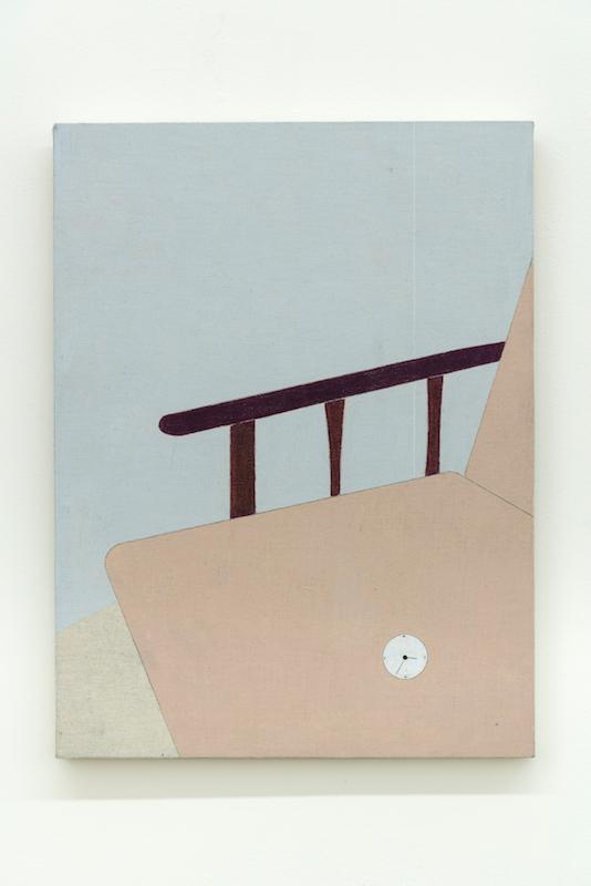 Marlon Kroll, Uneasy Seat, 2018, Crayon de couleur sur mousseline montée sur panneau, 40,6 x 30,4 cm/ 16 x 12 pouces