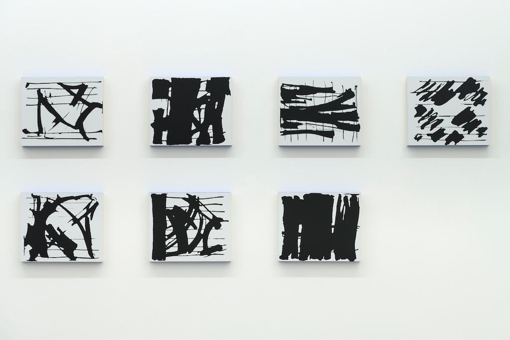 Francine Savard, Gitanes 07 / Gitanes 09 / Gitanes 08 / Gitanes 04 / Gitanes 19 / Gitanes 18/ Gitanes 05, 2018, acrylique sur toile marouflée sur caisson de bois, 30,16 x 35,6 cm / 11 7/8 x 14 pouces (chaque élément)