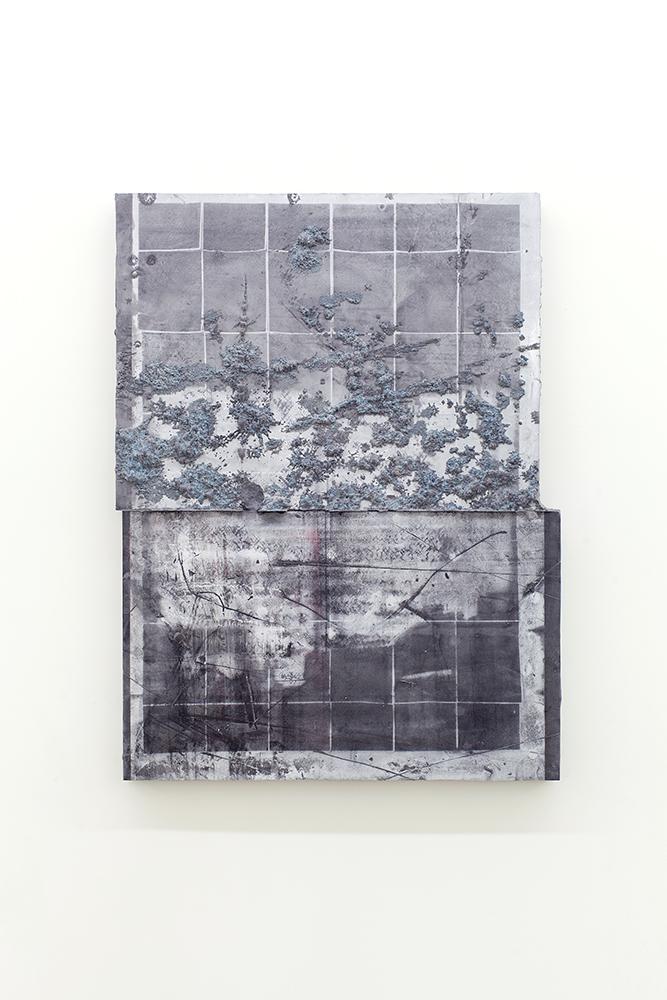 Nicolas Lachance, Montage-01, 2018, Ciment de gypse, encre, bois et fibre de verre, 96,5 x 72,3 cm / 38 x 28,5 pouces